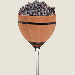 Decorative large wine goblet filled with ripe grapes
